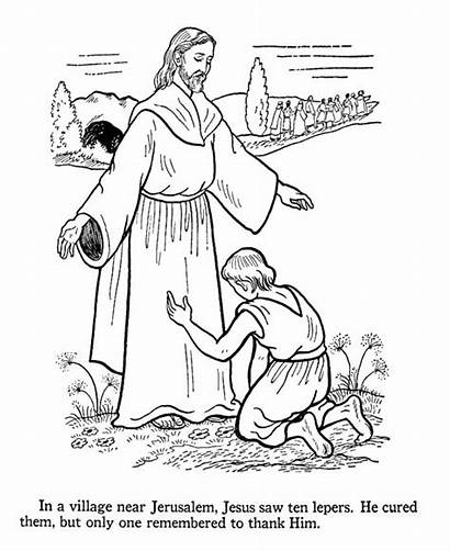Jesus Coloring Pages Heals Bible Lepers Colouring