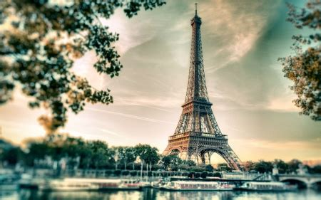 eiffel tower  sunset monuments architecture