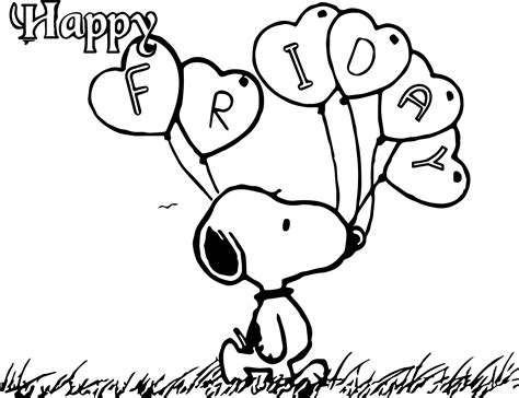 snoopy coloring pages happy friday snoopy coloring page wecoloringpage