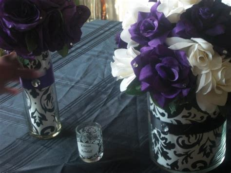 Black White And Purple Centerpieces