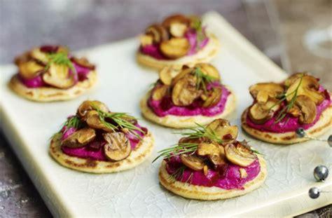 canape recipes uk beetroot blinis with garlicky mushrooms recipe goodtoknow