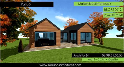 patios maison avec patio par architecte constructeur ossature bois du plan de permis de