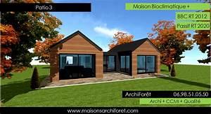 patios maison avec patio par architecte constructeur With lovely maison bois toit plat 12 maison contemporaine avec patio