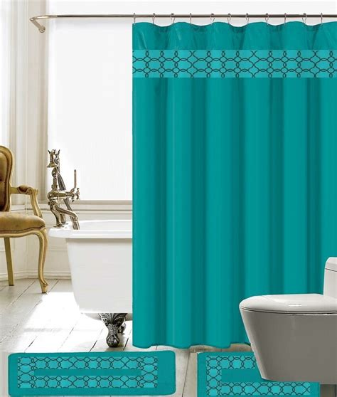 Shower Curtain Set - 15 charlton embroidery banded shower curtain bath