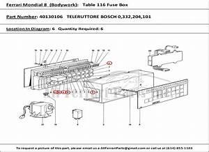 Ferrari Part Number 40130106 Teleruttore Bosch 0 332 204 101