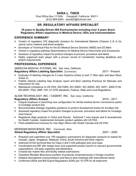 compliance specialist resume summary 28 images