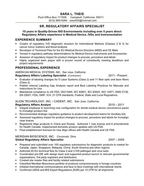 resume s theis sr reg affairs spec