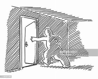 Breakout Rooms Exit Door Open Zeichnung Figur