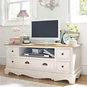 meuble tv blanc ivoire leontine maisons du monde With meuble blanc d ivoire