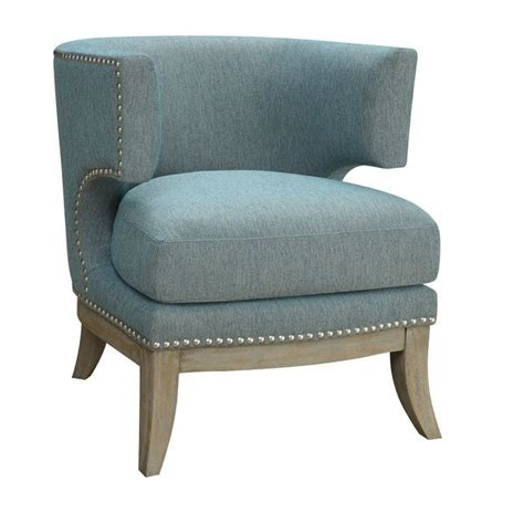 coaster barrel back upholstered accent chair in blue 902558