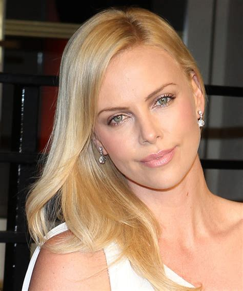 charlize theron formal long straight hairstyle golden