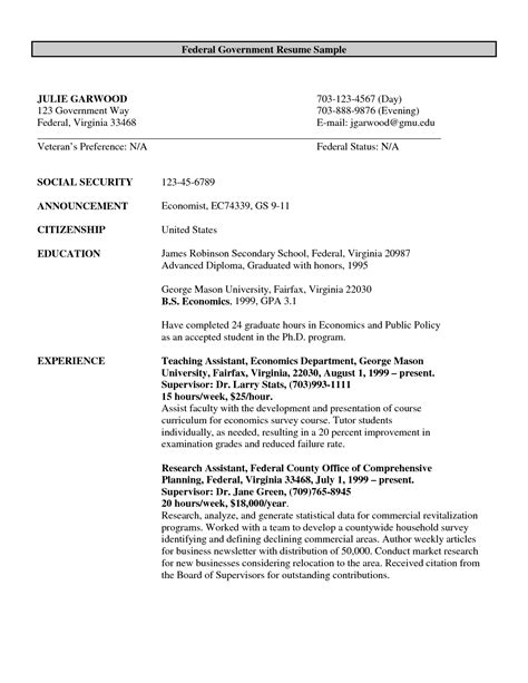 Government Resume Exles by Federal Government Resume Exle Http Www