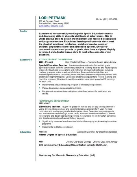 Elementary Resume Skills by Exle Of Pre K Resume Httpexleresumecvorg Sle Resume Resume For