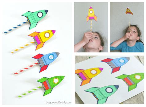 Straw Rockets (with Free Rocket Template)