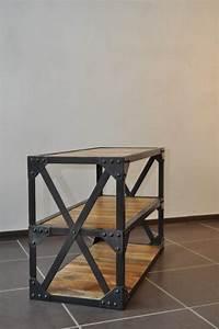 Table Basse Bois Acier : table basse industrielle acier et bois destockage grossiste ~ Teatrodelosmanantiales.com Idées de Décoration