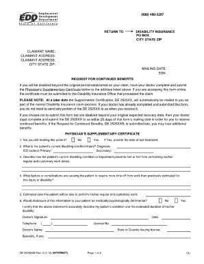 medical disability forms california de 2525xx supplementary certificate california edd