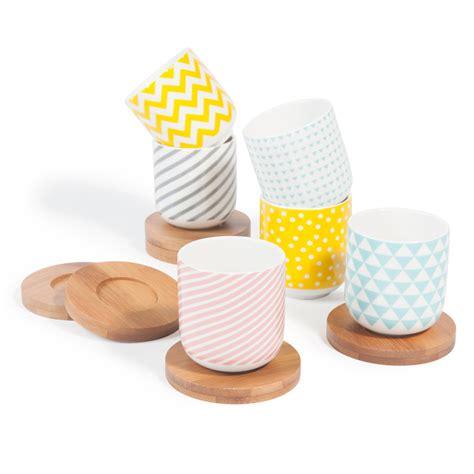 juego de 6 tazas de caf 233 con platillos de porcelana copenhagen maisons du monde