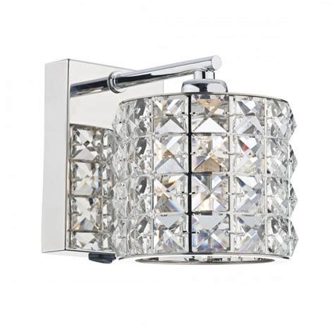 crystal wall light with switch modern decorative wall light in polished chrome with