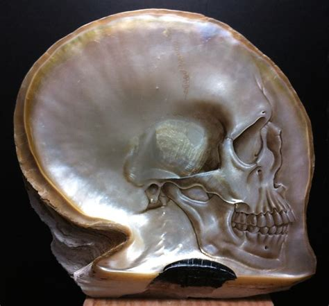 Beautiful Skulls Carved Painted Mother Pearl Shells
