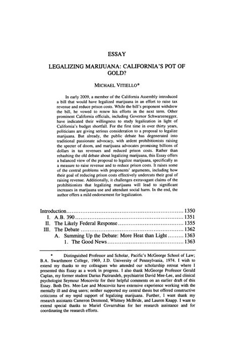 Thesis For Legalization by Legalizing Marijuana California S Pot Of Gold Essay 2009