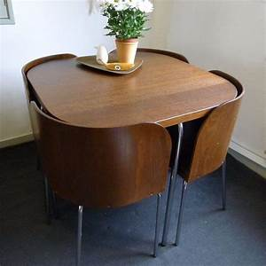 Space, Saver, Dining, Table, And, Chairs, Cream, Ebay, Saving, Folding, Room, Ideas, Tables