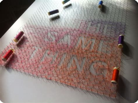 diy thread  nails string art projects