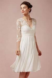 Dressesmall modern ivory v neck a line short lace wedding for Robe longueur genou