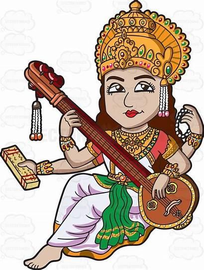 Saraswati Goddess Cartoon Hindu Clipart God Vectortoons