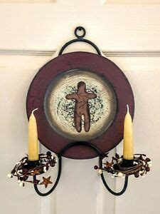 amish forged black wrought iron plate candle holder strong metal wall rack ebay