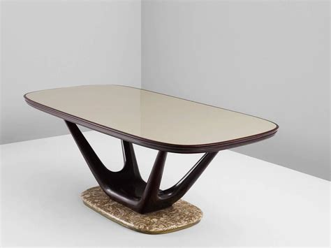 marble glass dining table italian dining table in marble glass and mahogany for sale