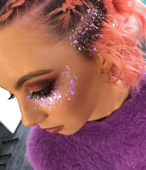 gold  pink glitter   festival makeup glitter