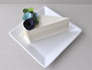 chic ivory wedding guest favor boxes shaped like a slice With wedding cake favor boxes