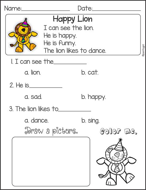 Printable Reading Comprehension Worksheets Reading Worksheets Kindergarten Math Free For