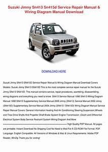 Suzuki Jimny Sn413 Sn415d Service Repair Manu By Charissa