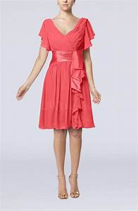 coral romantic short sleeve zip up knee length sash With coral dress for wedding guest