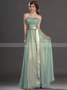 bridesmaids dresses strapless pleated a line chiffon bridesmaid dress with tailed sash