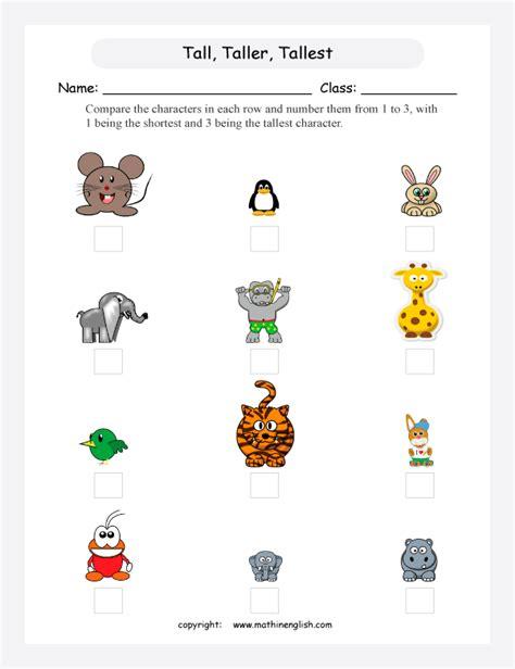 order  animals  short  tall great math activity