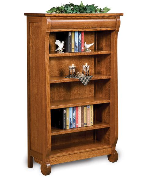 classic sleigh open bookcase amish direct furniture