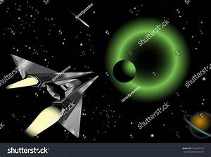 Illustration Spaceship Flying Into Group Planets Stock ...