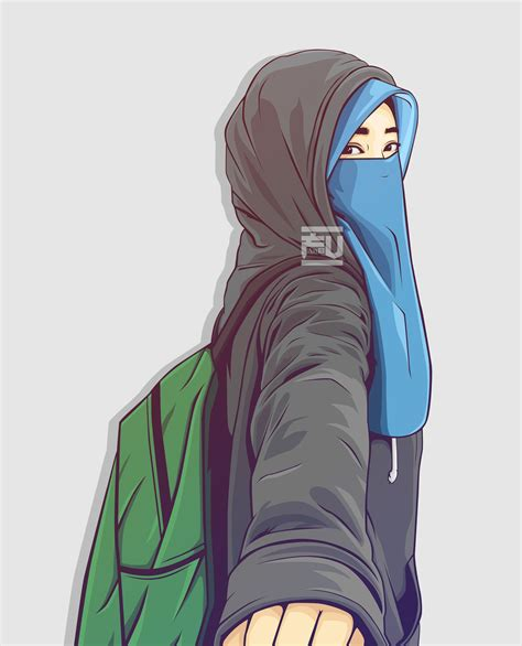gambar kartun hijab keren