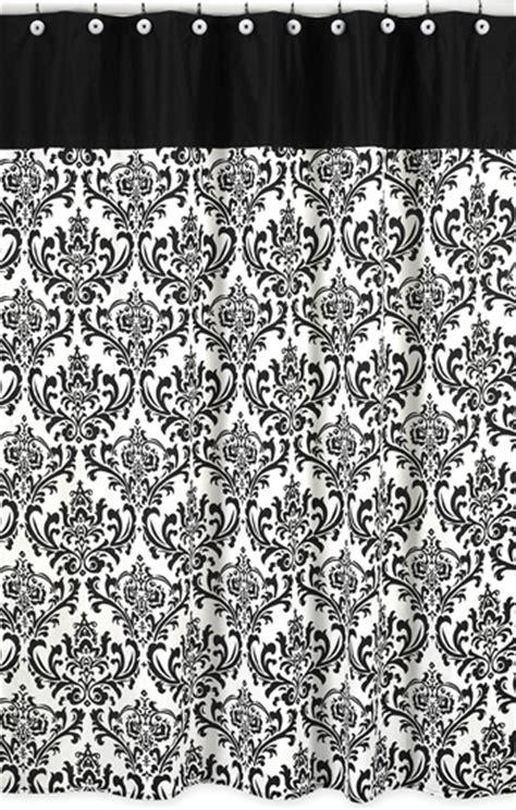 black white damask fabric shower curtain designer