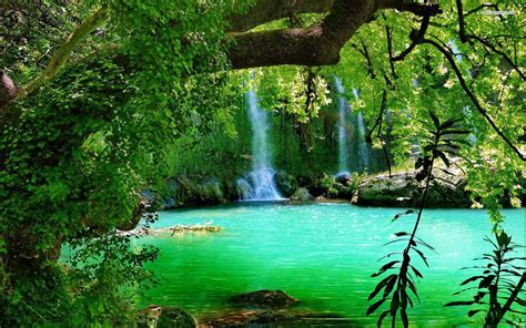 The Kurşunlu Waterfall With Turquoise Green Water Forest ...
