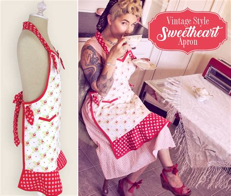 apron designs and kitchen apron styles vintage style sweetheart apron sew4home 9036