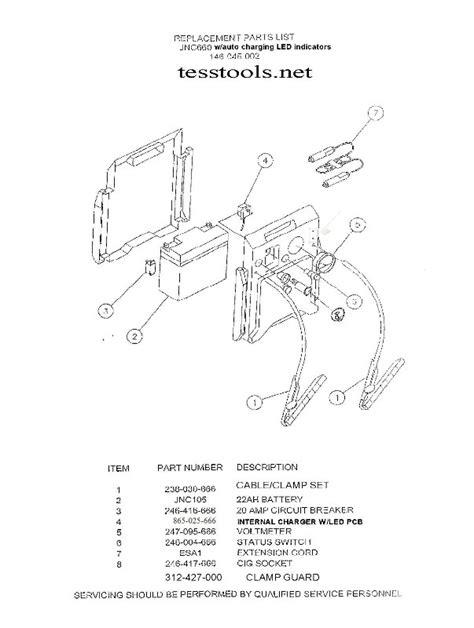 model jnc wauto charge parts list  parts