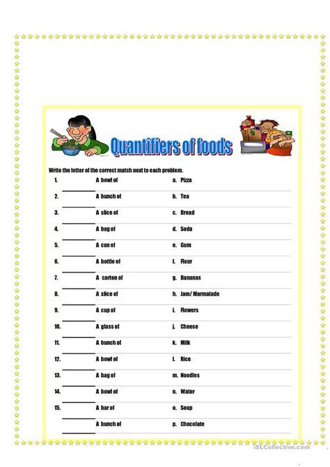 quantifiers  food  drinks worksheet  esl