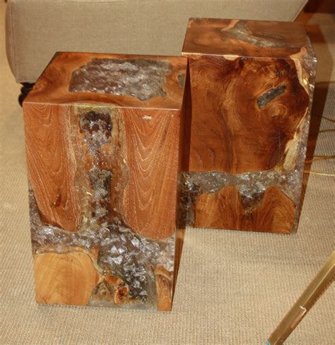 petrified wood side table uk teak root stool side table with acrylic resin fill