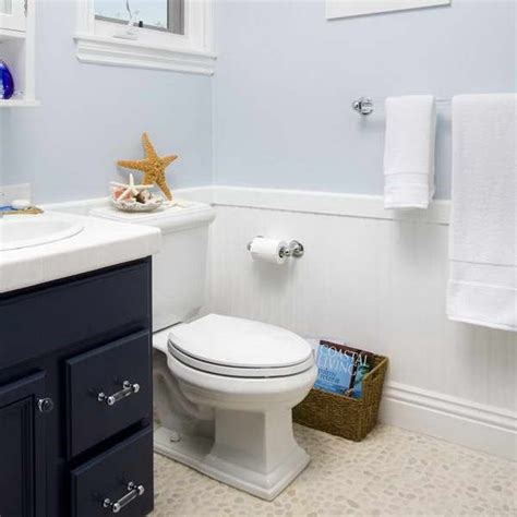 wainscoting  bathroom ideas  pale blue wall