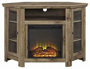48quot corner fireplace tv stand in barn wood finish With barnwood corner tv stand