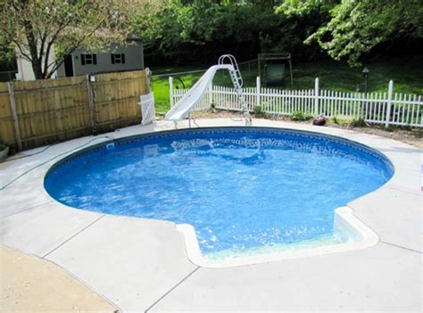 Small Inground Swimming Pools With Round Shape And Slider