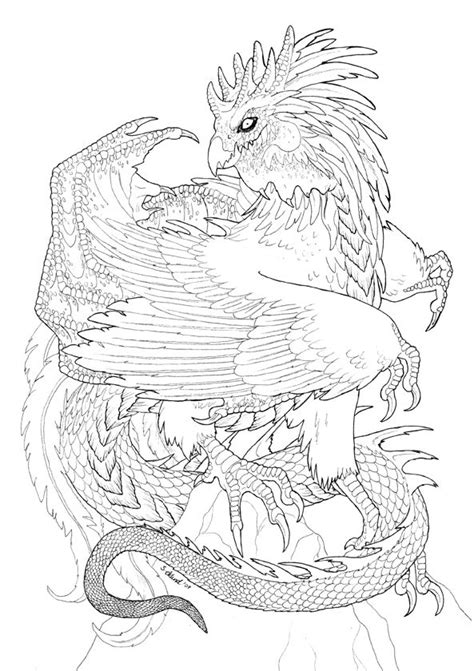Cockatrice lineart by Sakalah | mythical dragon/unicorn colouring in 2019 | Tattoo design book